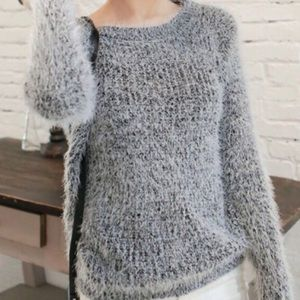 Sweaters - CHELSEA Soft Charcoal Long Sleeve Stretchy Sweater